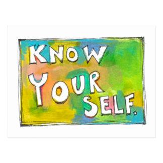 Self Awareness knowledge wisdom fun colorful art Postcard