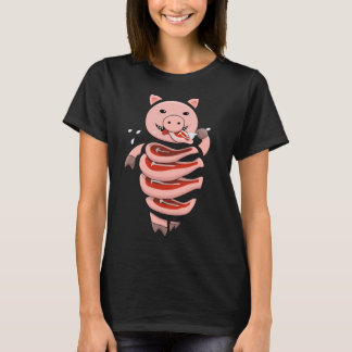 Self Eating Cannibal Pig Cut In Steaks Womens T-Shirt