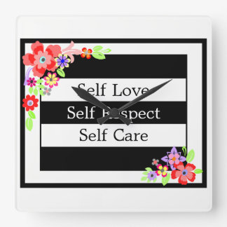 """""""Self Love"""" Gorgeous Floral Wall Clock. Square Wall Clock"""