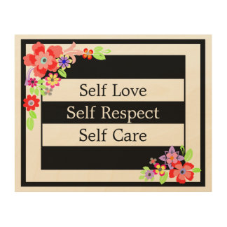 """Self Love"" Gorgeous Floral Wood Wall Art. Wood Wall Decor"