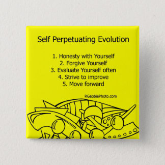 Self Perpetuating Evolution on Yellow 15 Cm Square Badge