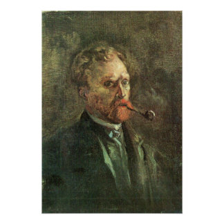 Self-Portait with pipe by Vincent van Gogh Posters