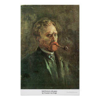 Self-Portait with pipe by Vincent van Gogh Print