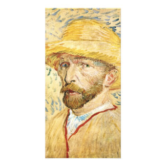 Self-Portait with straw hat by Vincent van Gogh Personalized Photo Card