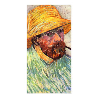 Self-Portait with straw hat by Vincent van Gogh Customized Photo Card