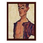 Self-Portrait A Face Piercing By Schiele Egon Postcard