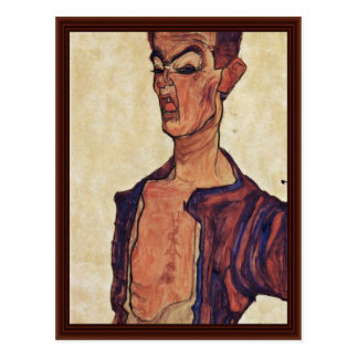 Self-Portrait A Face Piercing By Schiele Egon Postcard