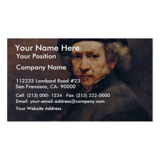 Self-Portrait,  By Rembrandt (Best Quality) Pack Of Standard Business Cards