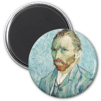 Self Portrait by Vincent Van Gogh 6 Cm Round Magnet