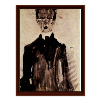 Self-Portrait In A Black Robe By Schiele Egon Postcard