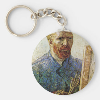 Self-Portrait in Front of the Easel by van Gogh Basic Round Button Key Ring