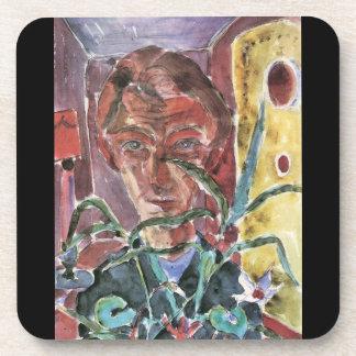 Self Portrait in Paris  by Walter Gramatte Beverage Coaster