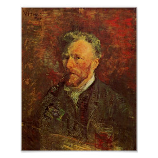 Self-Portrait, Pipe and Glass, Vincent van Gogh Poster