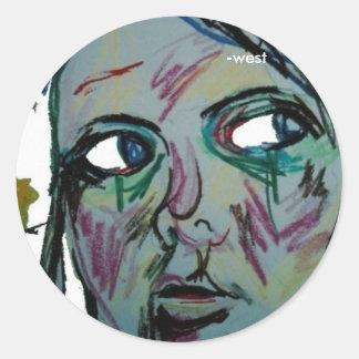 self portrait sketch, -west sticker