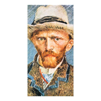 Self-portrait with a gray felt hat by van Gogh Customized Photo Card