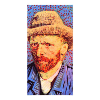 Self-portrait with a gray felt hat by van Gogh Custom Photo Card