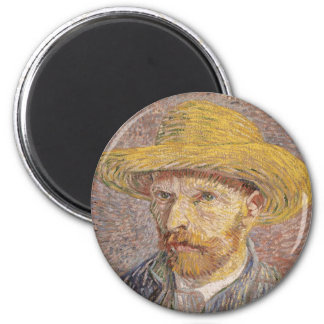 Self Portrait with a Straw Hat by Vincent van Gogh 6 Cm Round Magnet