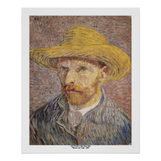 Self Portrait with a Straw Hat by Vincent van Gogh Poster
