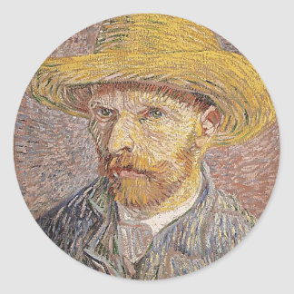 Self-Portrait with a Straw Hat - Van Gogh Classic Round Sticker