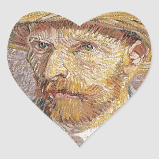 Self-Portrait with a Straw Hat - Van Gogh Heart Sticker