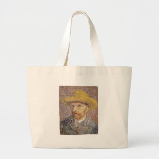 Self-Portrait with a Straw Hat - Van Gogh Large Tote Bag