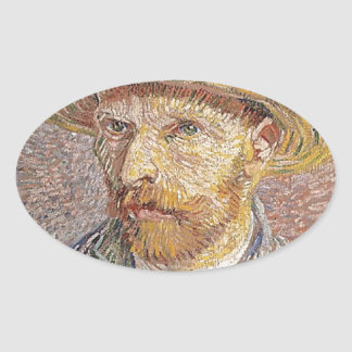 Self-Portrait with a Straw Hat - Van Gogh Oval Sticker