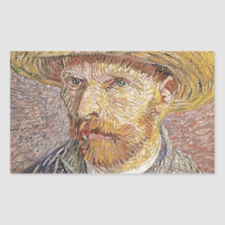 Self-Portrait with a Straw Hat - Van Gogh Rectangular Sticker