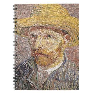 Self-Portrait with a Straw Hat - Van Gogh Spiral Notebook