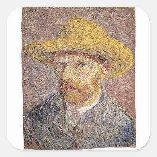 Self-Portrait with a Straw Hat - Van Gogh Square Sticker