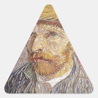Self-Portrait with a Straw Hat - Van Gogh Triangle Sticker