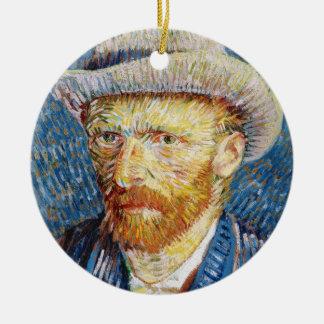 Self Portrait with Felt Hat Vincent van Gogh art Ceramic Ornament