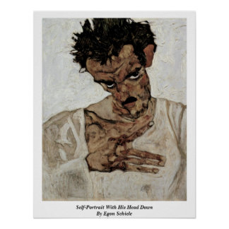 Self-Portrait With His Head Down By Egon Schiele Poster