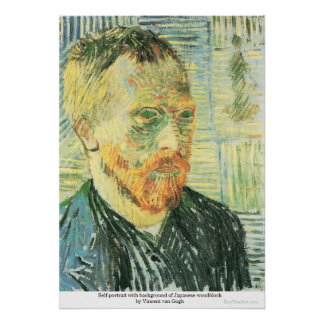Self-portrait with Japanese woodblock - van Gogh Poster