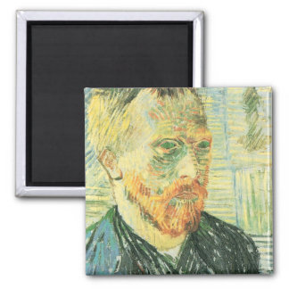 Self-portrait with Japanese woodblock - van Gogh Square Magnet