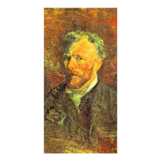 Self-portrait, with pipe, at a table by van Gogh Photo Card