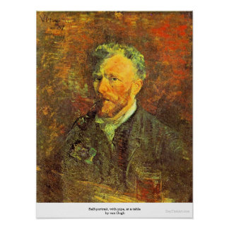 Self-portrait, with pipe, at a table by van Gogh Posters