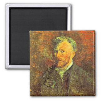 Self-portrait, with pipe, at a table by van Gogh Square Magnet