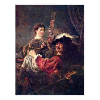 Self-Portrait with Saskia by Rembrandt Postcard