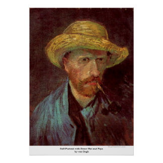 Self-Portrait with Straw Hat and Pipe by van Gogh Poster