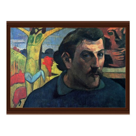 Self-Portrait With Yellow Christ By Gauguin Paul Postcard