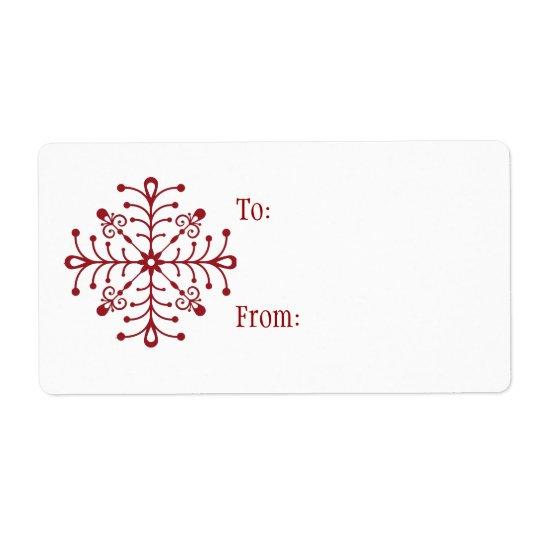 Self-Stick Christmas Gift Tag: Snowflake Shipping Label