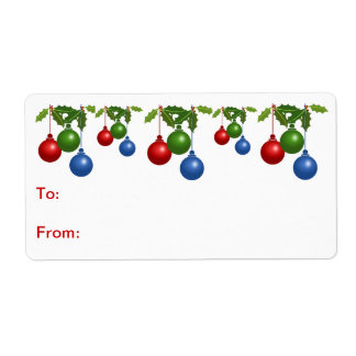 Self-Stick Gift Tag: Colored Christmas Balls