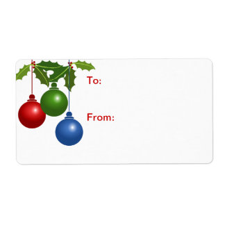 Self-Stick Gift Tag: Colored Christmas Balls Shipping Label