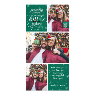 sELFie Greetings in White, Changeable Green Color Card