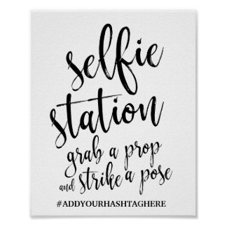 Selfie Station Black and White 8x10 Wedding Sign