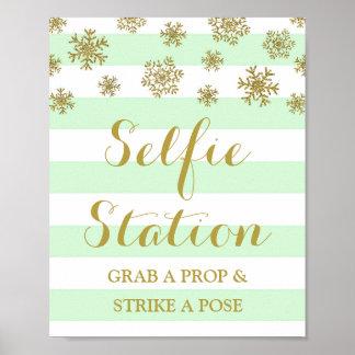 Selfie Station Sign Mint Stripes Gold Snow