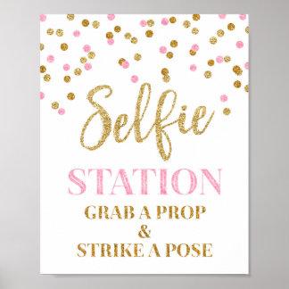 Selfie Station Wedding Sign Gold Pink Confetti