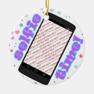 Selfie Time! Phone Shape Photo Frame Ceramic Ornament