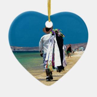 Seller on the beach ceramic heart decoration
