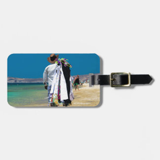 Seller on the beach luggage tag